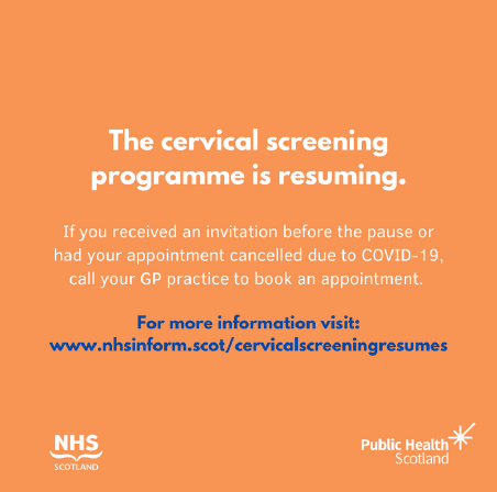 If you received an invite before the pause or had your appointment cancelled due to COVID-19, contact your GP practice now to book your cervical screening (smear test).